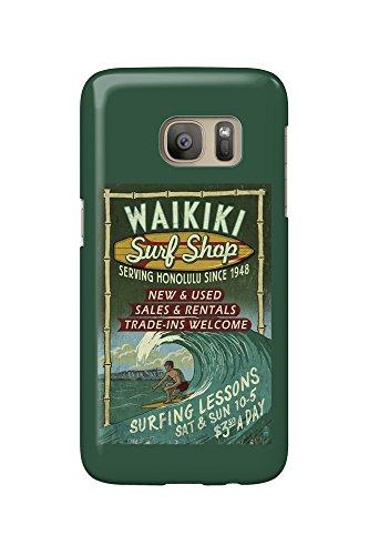 Waikiki Surf Shop, Hawaii - Surf Shop VIntage Sign (Galaxy S7 Cell Phone Case, Slim Barely - Waikiki Shops