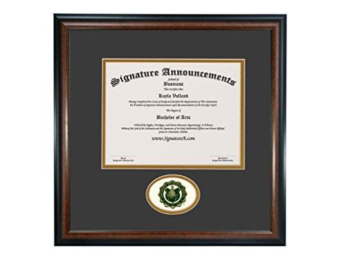 Signature Announcements University of North Dakota (UND) Undergraduate and Graduate Graduation Diploma Frame with Sculpted Foil Seal (Matte Mahogany, 16 x 16)