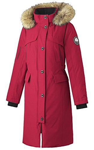 Alpinetek Women's Long Down Parka Coat (Medium, Red)