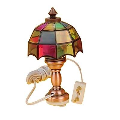 Homyl 1/12 Victorian Dollhouse Miniature Table Lamp Lighting Desk Reading Lamp 12V Room Accessories
