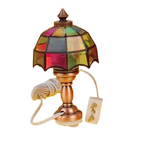 (Homyl 1/12 Victorian Dollhouse Miniature Table Lamp Lighting Desk Reading Lamp 12V Room Accessories)