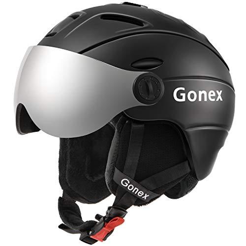 Gonex Ski Helmet with Detachable Goggles, Shockproof Winter Snow Snowboard Skiing Helmet for Men, Women & Youth, Size M Black