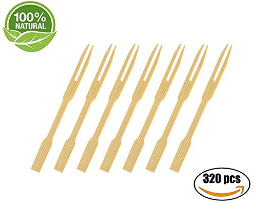 CDOFFICE 320 PCS Mini Bamboo Cocktail Fork Sticks Fruit Picks for Parties Buffets Food Tastings (Cocktail Foods Party)