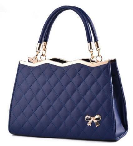 LDMB Bolsos para mujer Bolso de cuero de la PU del arco de señora en relieve hombro Messenger Bag Bolsa Zipper 30 * 10 * 20cm , meters white treasure blue