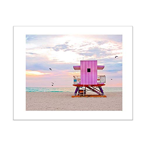 Pink Art Deco Coastal Surf Desk Art Print Lifeguard Stand 5x7 Inches