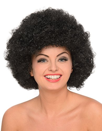 Black Afro - Big 70s Disco Wig for Women, Curly Hair Fro - Disco Afro Wig In Black