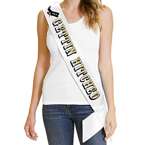 - Bachelorette Party Cowgirl Sash - Gettin' Hitched Gold Foil Sash for Bride - Cowboy Western Bachelorette White Sash(Gettin Hitched) Wht