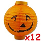 Set of 12~ Halloween Jack-O-Lantern Nylon Paper 6'' Lantern Light with Bulb No Need Wire Office Classroom Home Party Decoration USA Seller