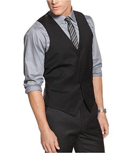 Alfani Mens Solid Three Button Blazer Jacket, Black, 40 Short ()