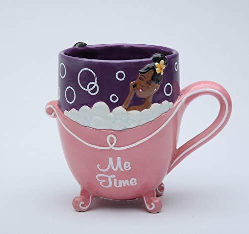 African American Mug (Fine Ceramic Hand Painted Glam African American Lady Design Pink Bubble Bath Me Time Mug, 5