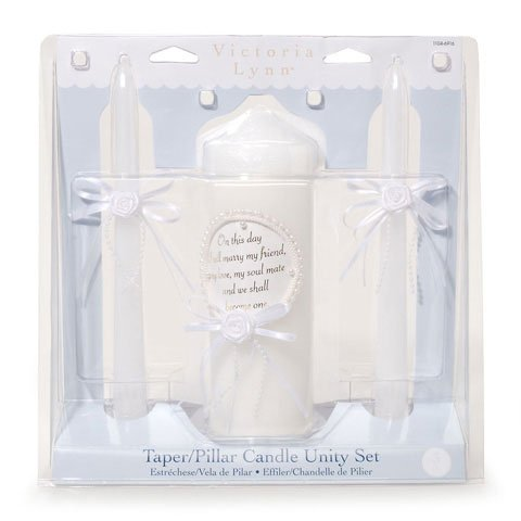 Bulk Buy: Darice DIY Crafts Victoria Lynn Unity Candle Set with Verse Pearl Finish 3 pieces (1-Pack) 1104-6916