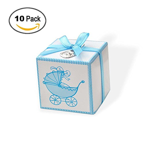 Blue Baby Shower Stroller Favor Boxes with Thank You Baby Bib Charms Ribbons Kit 10 Pack