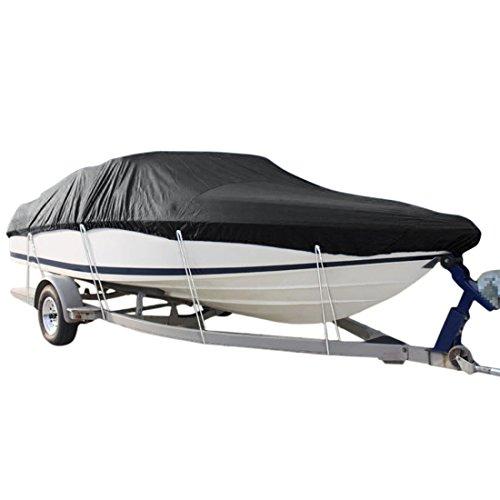 uxcell 20-22ft 210D Trailerable Boat Cover Waterproof Scratch-proof Fishing Ski Bass Speedboat V-shape Black 700 x 280cm (Bass 22' Black)