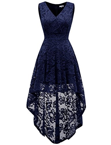 Dressystar Women's Sleeveless Hi-Lo Lace Bridesmaid Dress Cocktail Party Dress