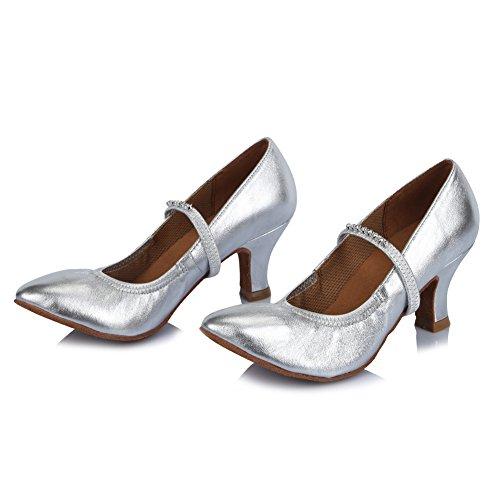 Zapatos de Zapatos de Mujeres Latinos con la Modelo de de de el imitación Baile ESAF305 Baile de Cuero Plateado Diamante HIPPOSEUS Danza Zapatos salón YId8qdw