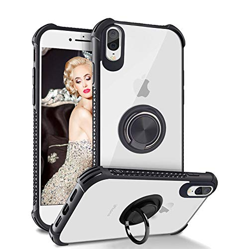 Case for iPhone 8 Plus Case Clear Thin Fit iPhone 7 Plus Case with Ring Holder Stand Magnetic-Black