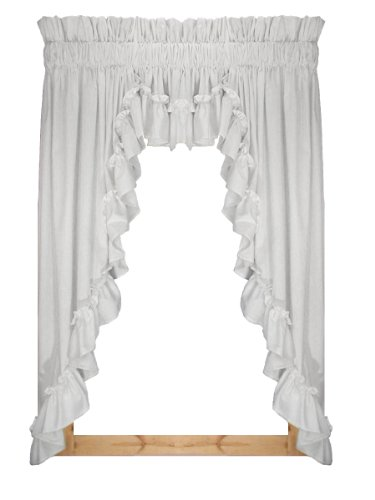 Stephanie Country Ruffle 3 Piece Swag Curtains Set 132-Inch-by-63-Inch - 1 1/2 Inch Rod Pocket, ()