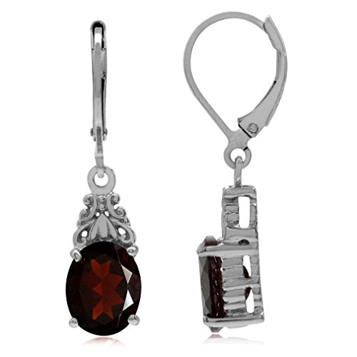 (5.62ct. Natural Garnet White Gold Plated 925 Sterling Silver Filigree Leverback Dangle Earrings)