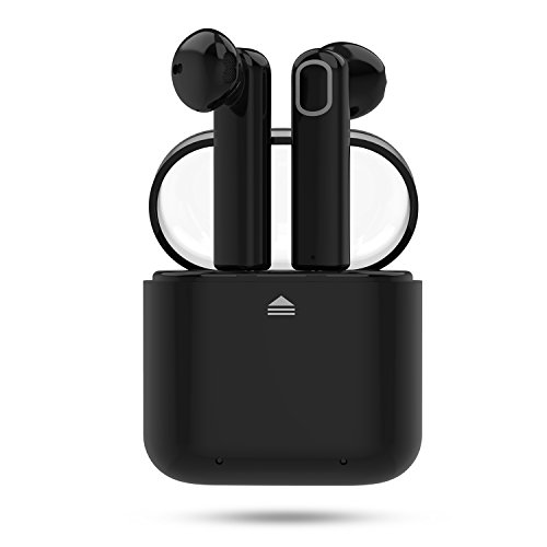 Bluetooth Earbuds, RyuGo V4.2 Bluetooth Headphones True Wireless Earbuds Earphones Noise Cancelling Sweatproof Air Headset with Microphone and Charging Case for iPhone Samsung Smartphones (Black)