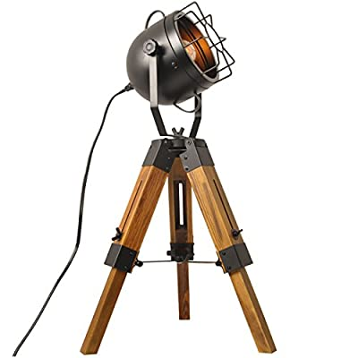 Decoluce Industrial Vintage Floor Table Tripod Lamps,Wooden Stand Lamp Black ,Antique Home Decor Searchlight Floor Lamp,Mini Tripod Light-Without Edison Led Bulbs
