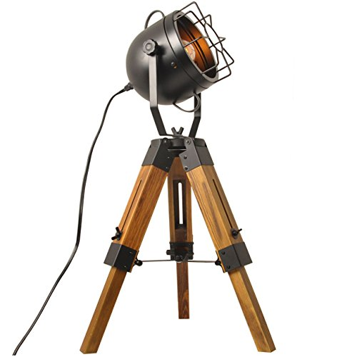 Mesh Table Lamp Round Searchlight-Industrial Vintage Floor Table Tripod Lamps,Wooden Stand Lamp Black,Antique Home Decor Searchlight Floor Lamp,Mini Tripod Light-Without Edison Led Bulbs -