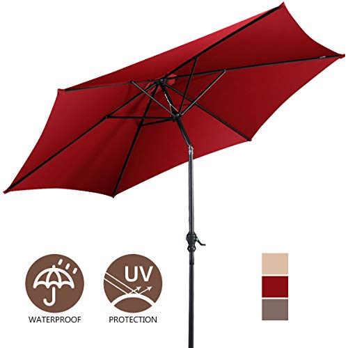 Giantex 10ft Outdoor Solar Patio Umbrella, Market Table Umbrella w/Tilt Adjustment and Crank, 180G Polyester, Garden Canopy for Deck Backyard Pool Indoor -
