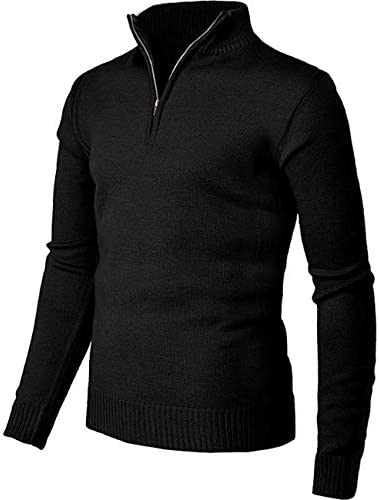 Pioneer Camp Men`s Sweater Pullover Slim Fit Long Sleeve Knitted Soft Mock Neck Quarter Zip Polo Sweater