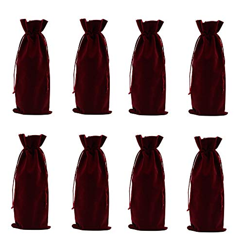 YUMMAYEE 8pcs Velvet Wine Bags Wine Bottle Gift Bags with Drawstring for Weddings, Birthdays, Housewarming and Dinner Parties (Wine Red, 8PCS)