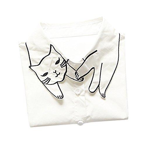 Shinywear Retro British Cute Cat False Shirt Collar Casual Detachable Lapel Collar
