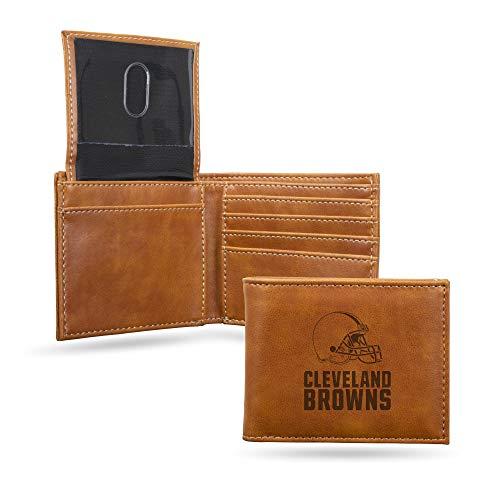 Rico Industries NFL Cleveland Browns Laser Engraved Billfold Wallet, Brown
