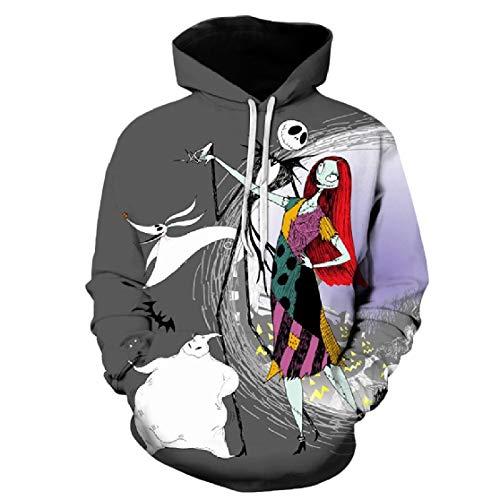 Comaba Women Pocket Hood Printed Long Sleeve Plus Size Halloween Sweatshirts Top Pattern5 L -