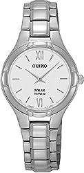 Seiko Solar White Dial Titanium Women's Watch SUP277