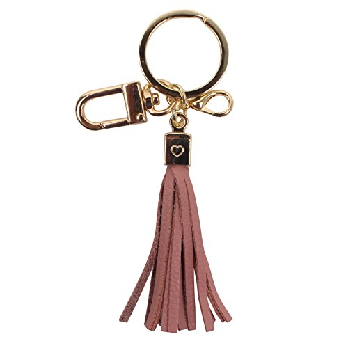 Womens's Genuine Leather Tassel Charm Handbag Wallet Smartphone Accessories Key Rings Holder (B-Indi-pink) Leather Tassel Key Ring