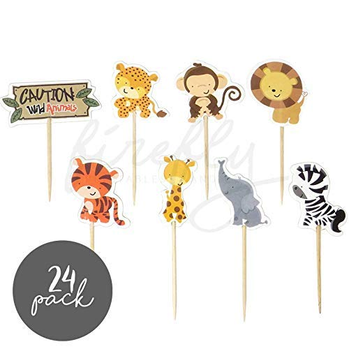 FIREFLY Animal Safari 24 Cupcake Toppers Animal Zoo Safari Baby Shower Decorations Party Cake Decorating Supplies First Birthday Decorations Kids Children Baking Supplies (Safari 24)