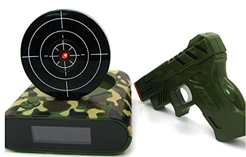 Army GreenTarget Laser Shooting Gun Alarm Clock LCD Screen Gun Alarm Colck/Target Alarm Clock