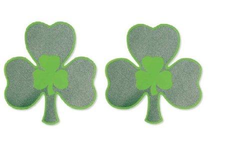 Irish Shamrock Plastic Glitter Cutout Decorations (8 x 8 inch) -