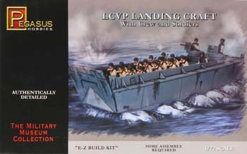 LCVP Landing Craft w/Pre-Painted Water Base, 15-Soldiers & 3-Crew (Snap Kit) 1-72 (Soldier Model)
