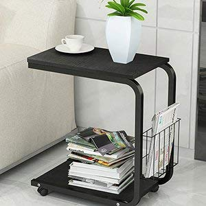 KH02-BK-SH-01 SogesHome Side//Coffee//Snack//Storage Table with Wheels End Table Sofa Table for Home,Living Room,Office Black