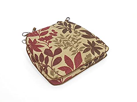 Arlee Foam Reversible Chenille Leaf Jacquard Chair Pads with Tie Backs (Set of 2), Burgundy (Round Chair Pads With Ties)