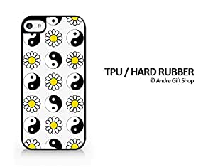 TPU / RUBBER Black Case - Yin Yang & Daisy Pattern - YinYang - Daisy - Minimalist Design - Hipster - Swag - iPhone 5C - (C) Andre Gift Shop