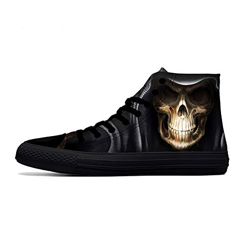 - FIRST DANCE Skull Shoes for Men Fashion Sneaker High Top Skull Punk Rock Joker Print Shoes Black Shoes for Man Cool US12