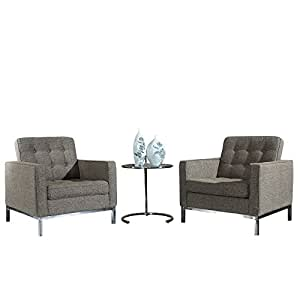 Modway Florence Style Woolen Armchairs and Eileen Gray Side Table Set in Oatmeal