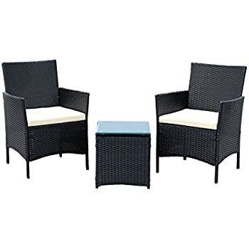 IDS Home 3 Piece Compact Outdoor/Indoor Garden Patio Furniture Set Black PE  Rattan Wicker Seat White Cushions