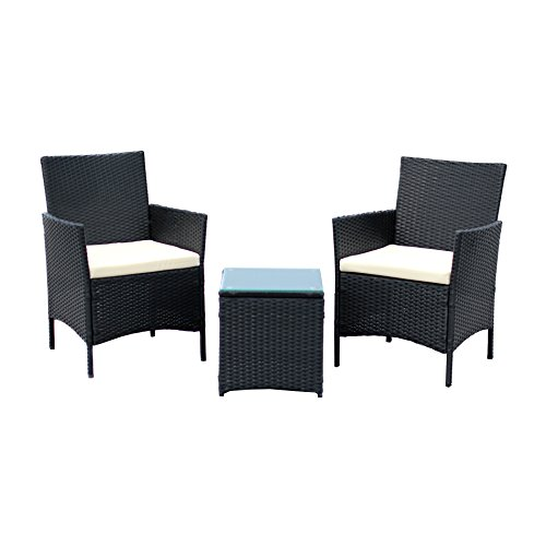 IDS Home 3-Piece Compact Outdoor/Indoor Garden Patio Furniture Set Black PE Rattan Wicker Seat White Cushions
