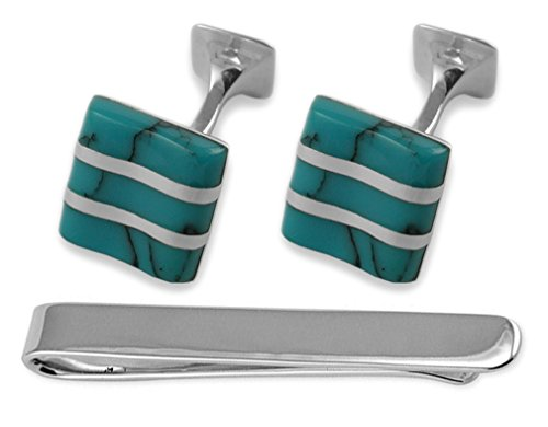 turquoise Sterling Tie Cufflinks silver Clip wave Box turquoise silver Set wave Sterling w1ERRp