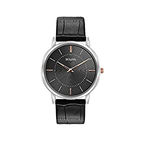 Bulova Men's Classic Collection Black Leather Strap Watch