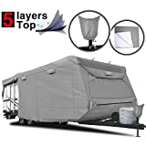"RVMasking Heavy Duty 5 Layers Top Travel Trailer RV Cover, Fits 22'1"" - 24' RVs - Breathable Waterproof Anti-UV Ripstop Camper Cover with 15 PCS Windproof Buckles & Tongue Jack Cover"