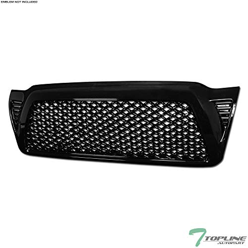 Topline Autopart Black Dragon Mesh Front Hood Bumper Grill Grille ABS For 05-11 Toyota Tacoma ()