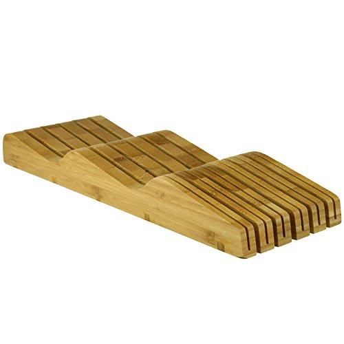 Organic Bamboo Knife Block Organizer, Heim Concept In- Drawer Premium Bamboo Wood Knife Storage Block - Holds Up To 16 Knives by Heim Concept (Image #2)