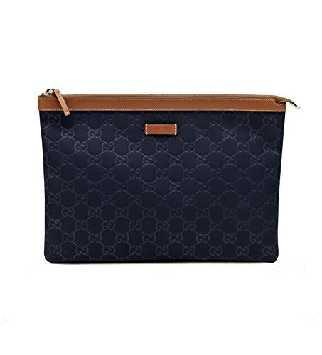 Gucci Navy Blue Nylon and Leather Zip Top Pouch Cosmetic Makeup Bag 286209